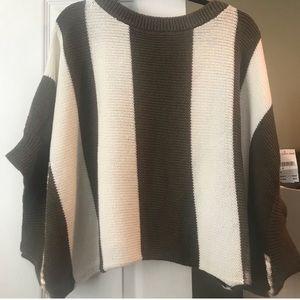 NWT Trina Turk olive cream striped summer sweater